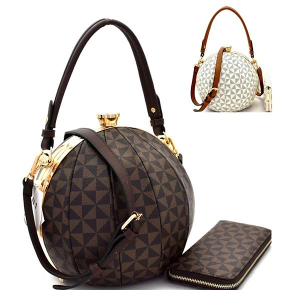 My Bag Lady Online Handbags - Ball Shaped Satchel & Wallet Set